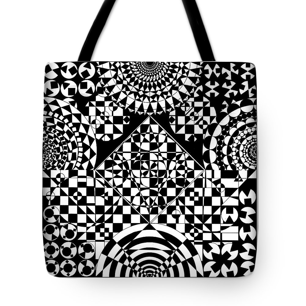 Philosopher Kaleidoscope Stone Square Circle Triangle Design Shapes Primitives 2d Pattern Math Tote Bag featuring the drawing Philosophers Kaleidoscope by Priscilla Vogelbacher