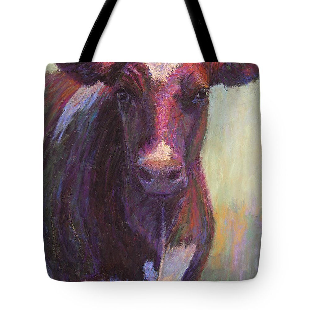 Cows Tote Bag featuring the painting Phoebe Of Merry Mead Farm by Susan Williamson