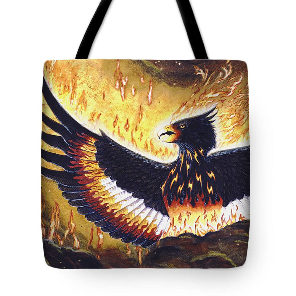 Phoenix Tote Bag featuring the painting Phoenix Rising by Melissa A Benson