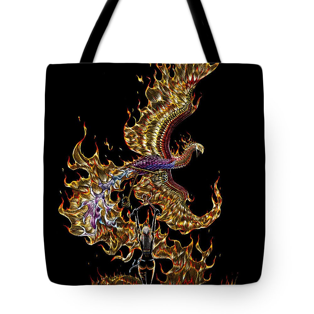 Phoenix Tote Bag featuring the drawing Phoenix by Stanley Morrison