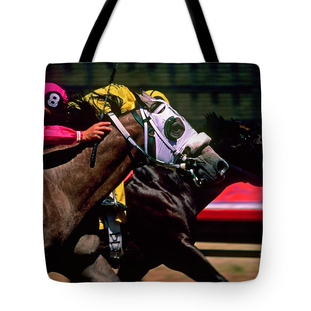 Horse Tote Bag featuring the photograph Photo Finish by Kathy McClure