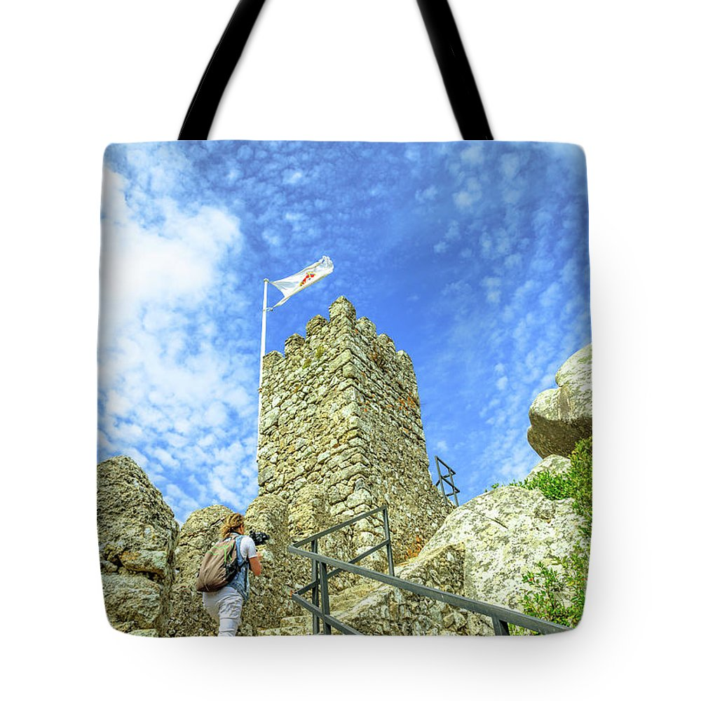 Sintra Tote Bag featuring the photograph Photographer At Moorish Fortress by Benny Marty