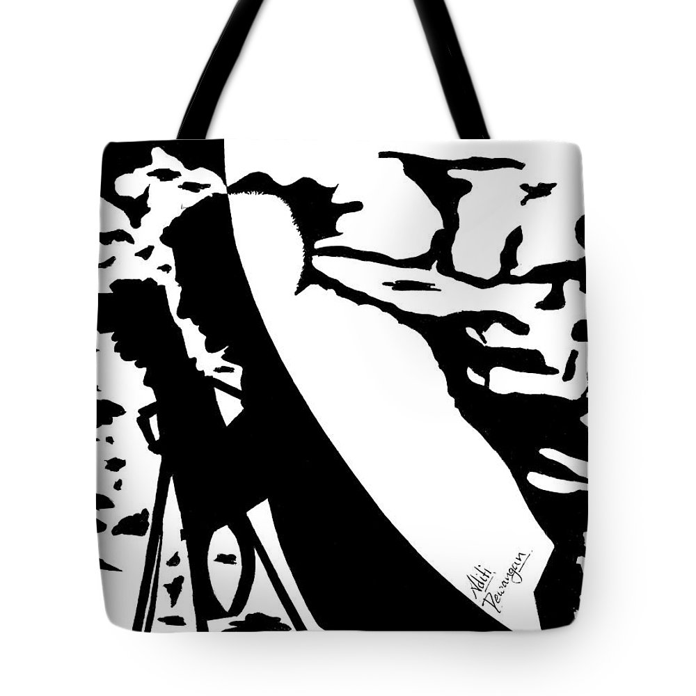 Photographer Tote Bag featuring the painting Photographer In Monochrome by Aditi Dewangan