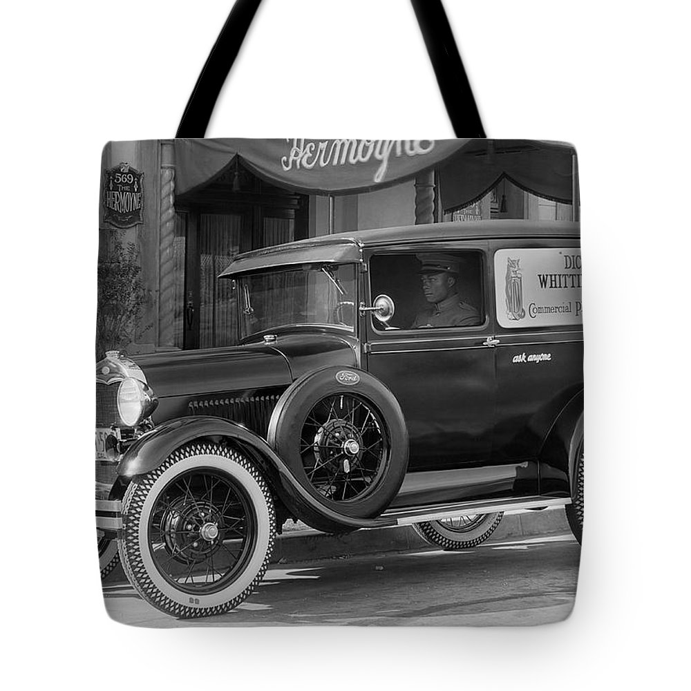 1 Person Tote Bag featuring the photograph Photographer's 1928 Truck by Underwood Archives