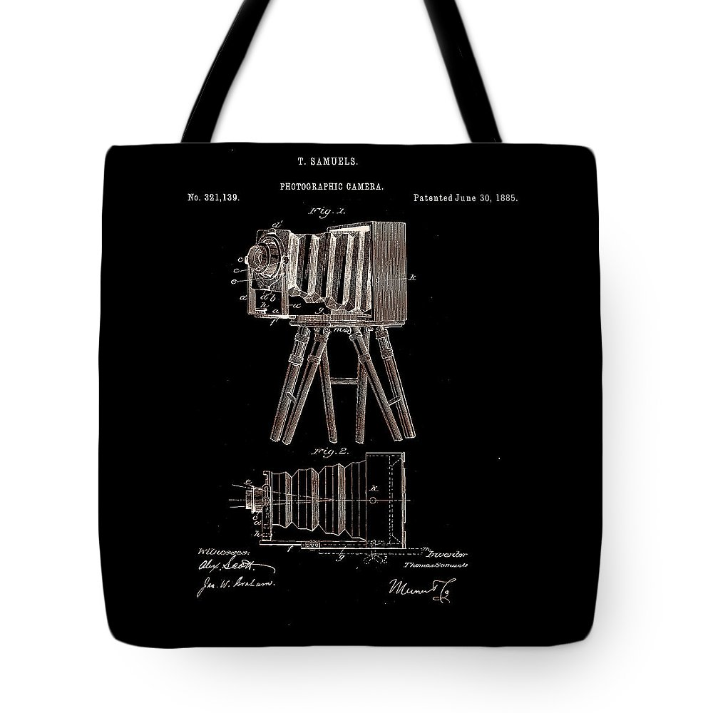 Photography Tote Bag featuring the digital art Photographic Camera Patent 1885 by Claire Doherty