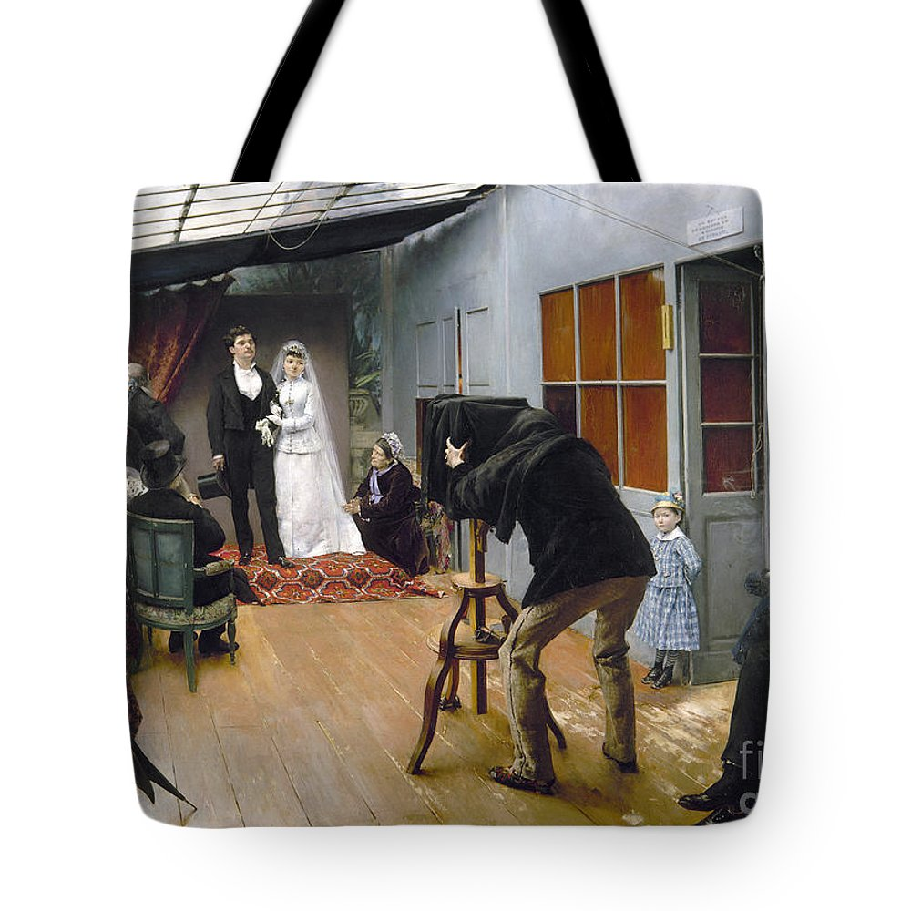 1878 Tote Bag featuring the photograph Photography Studio, C1878 by Granger