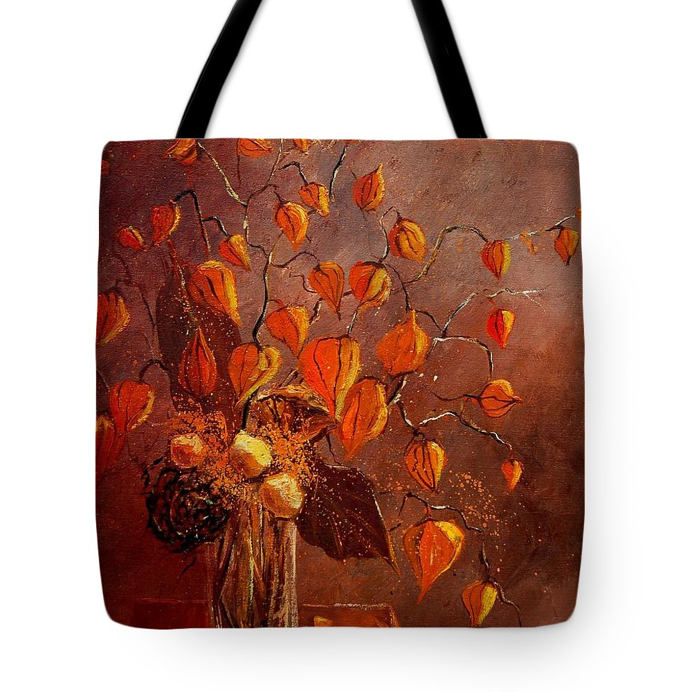 Poppies Tote Bag featuring the painting Physialis by Pol Ledent