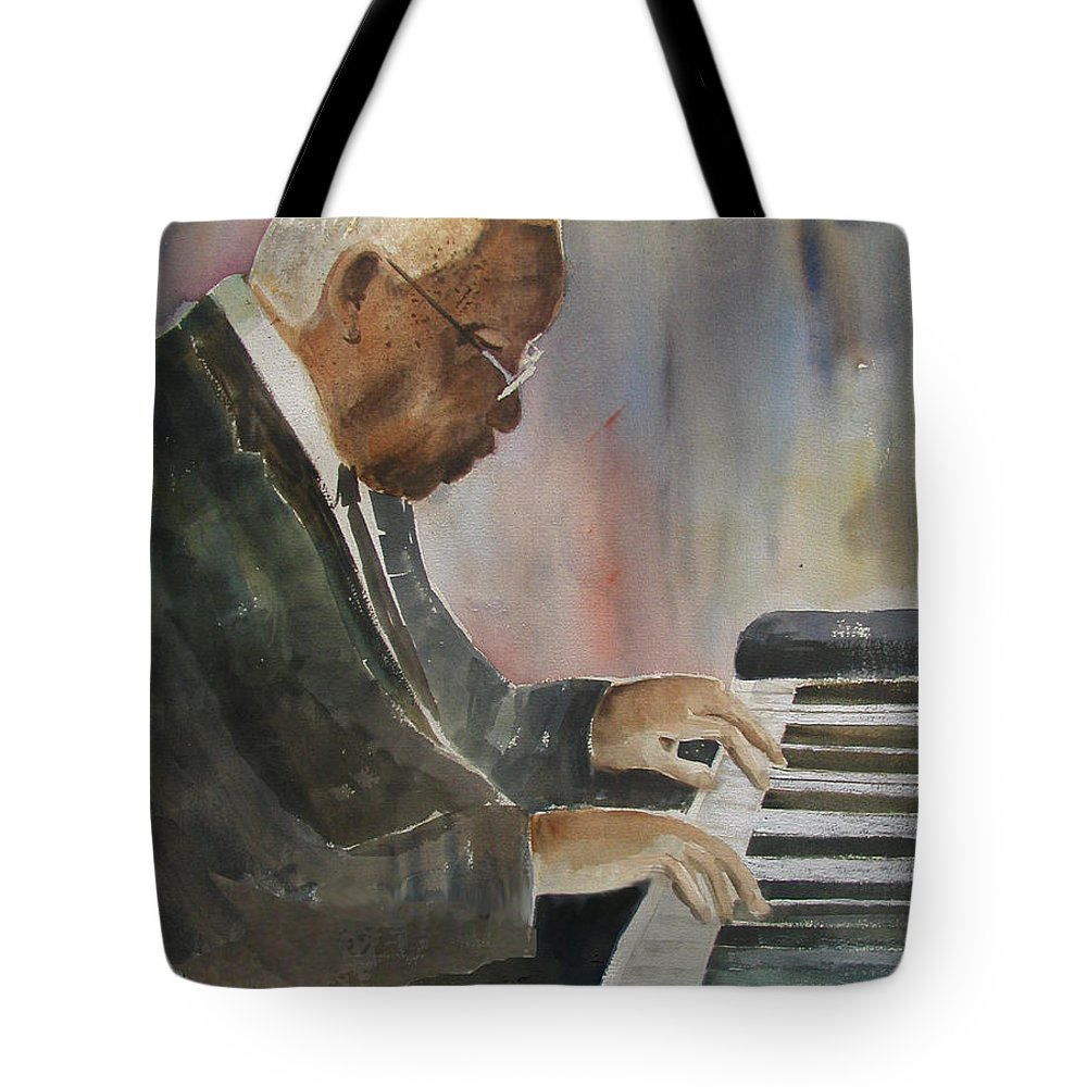 Pianist Tote Bag featuring the painting Piano Jazz by Arline Wagner