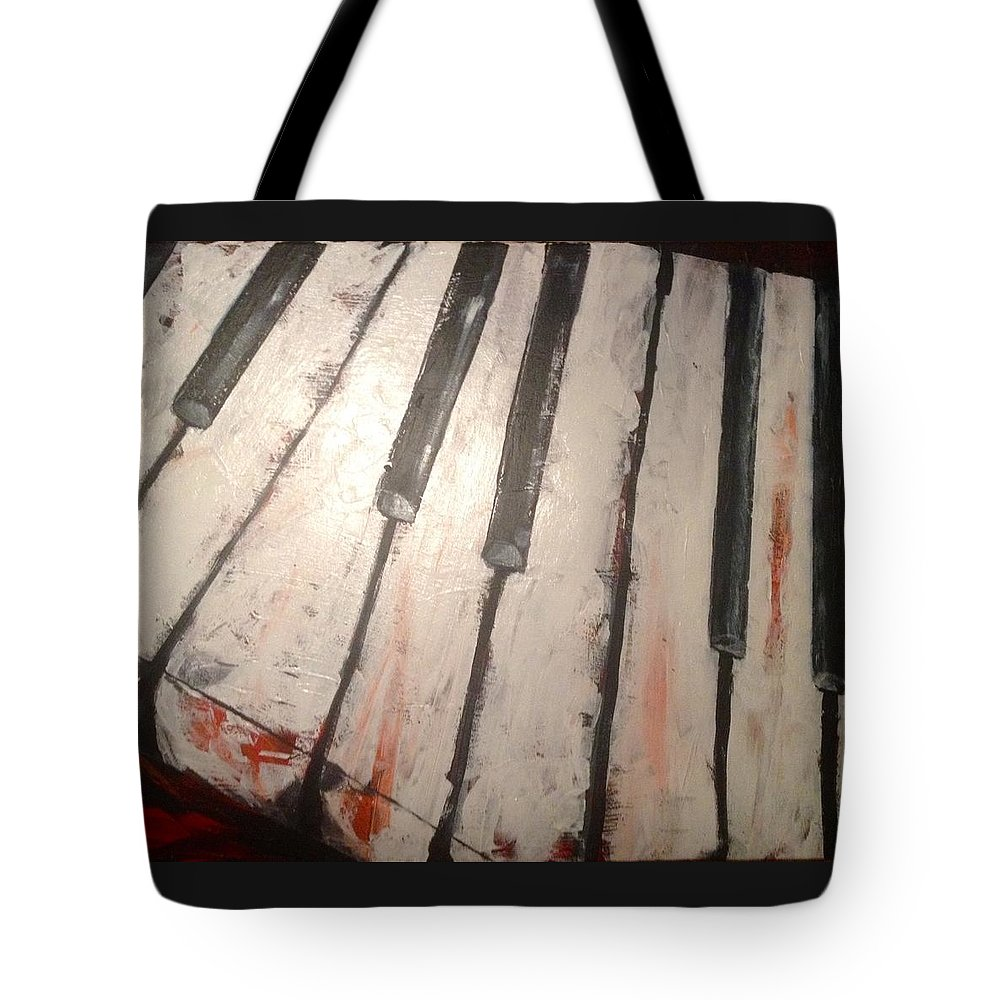 Piano Tote Bag featuring the painting Piano keys by Jennifer Whitworth