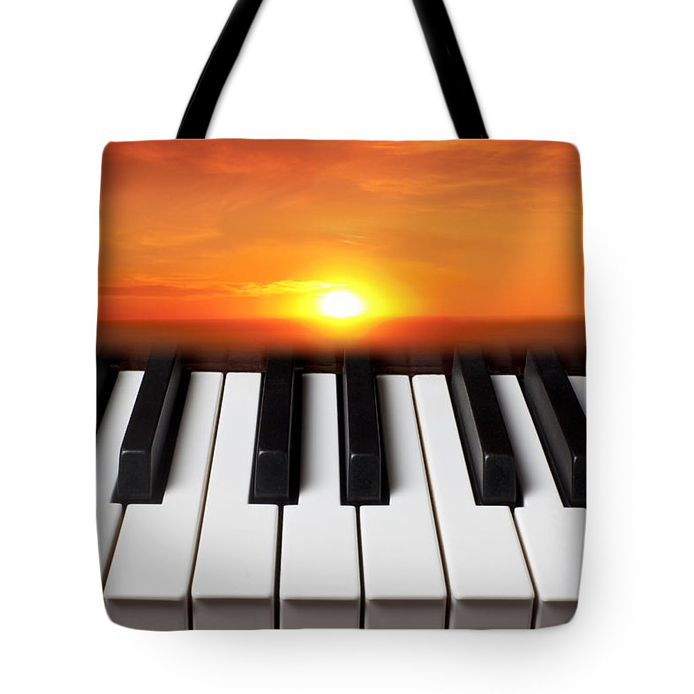 Piano Keys Tote Bag featuring the photograph Piano Sunset by Garry Gay