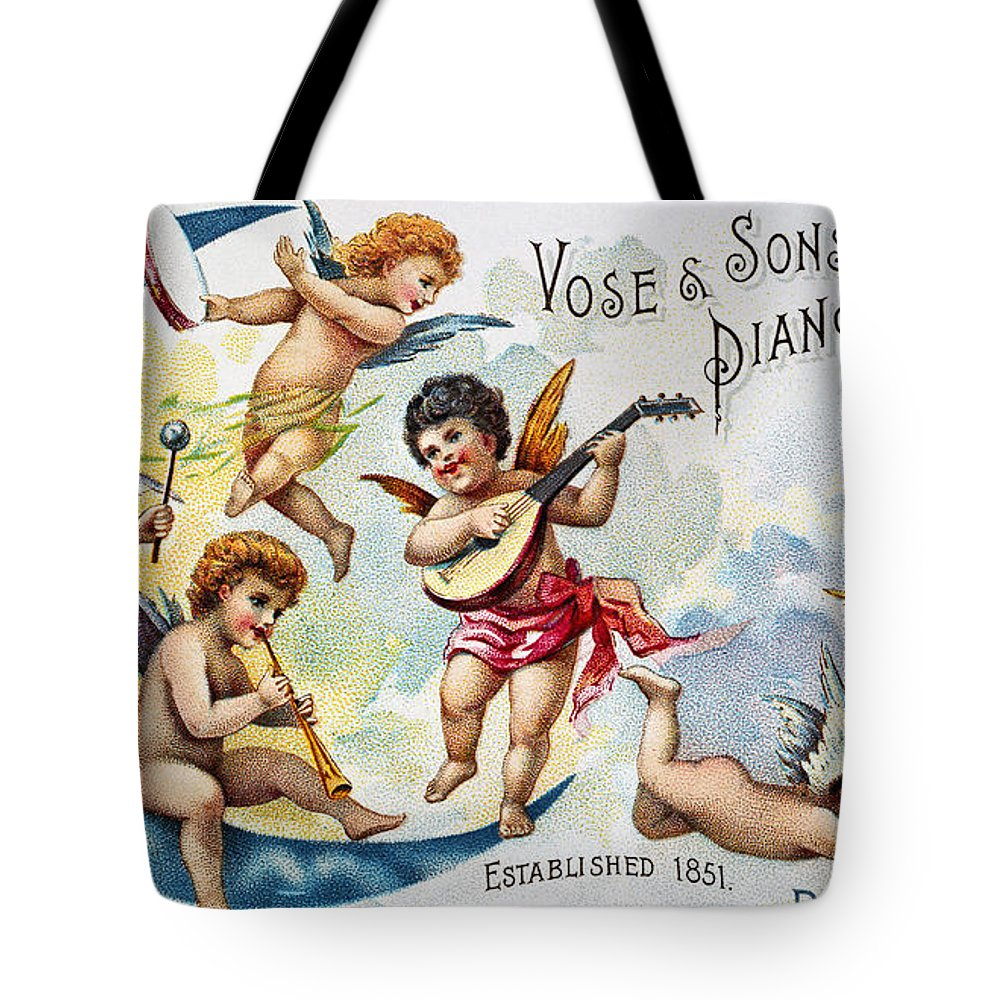 1880s Tote Bag featuring the photograph Piano Trade Card, C1880 by Granger