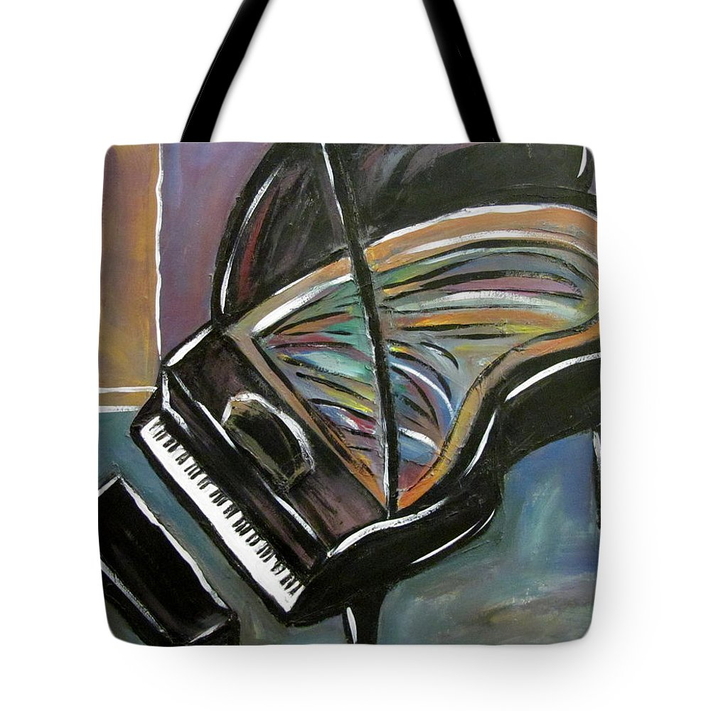 Impressionist Tote Bag featuring the painting Piano With High Heel by Anita Burgermeister