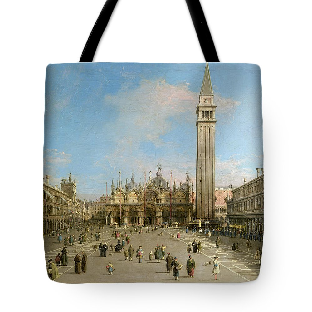 Canaletto Tote Bag featuring the painting Piazza San Marco Looking Towards The Basilica Di San Marco by Canaletto