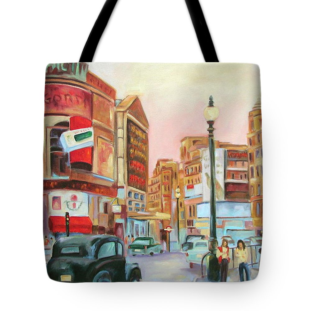 Cityscape Tote Bag featuring the painting Picadilly by Ginger Concepcion