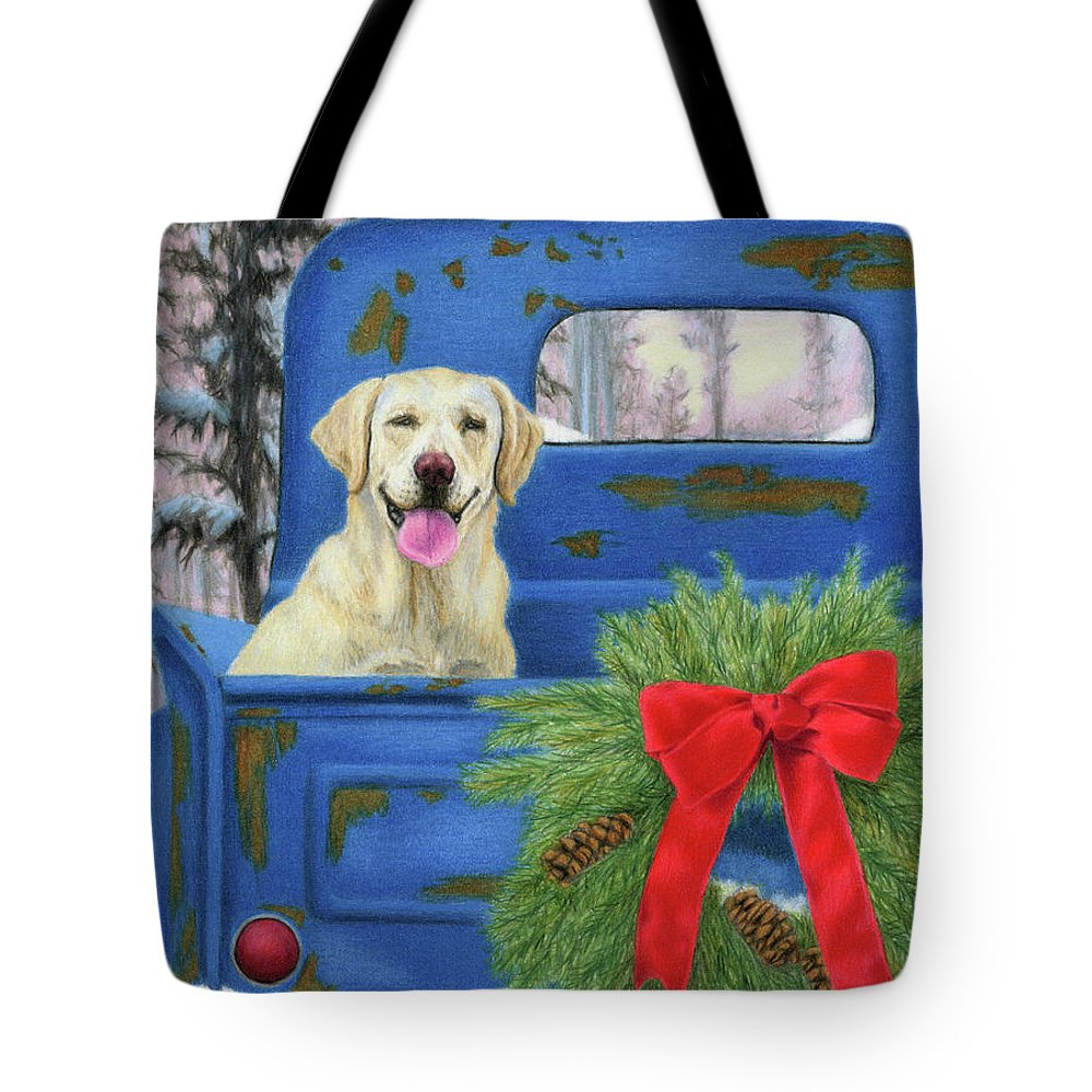 Christmas Tote Bag featuring the painting Pick-en Up The Christmas Tree by Sarah Batalka