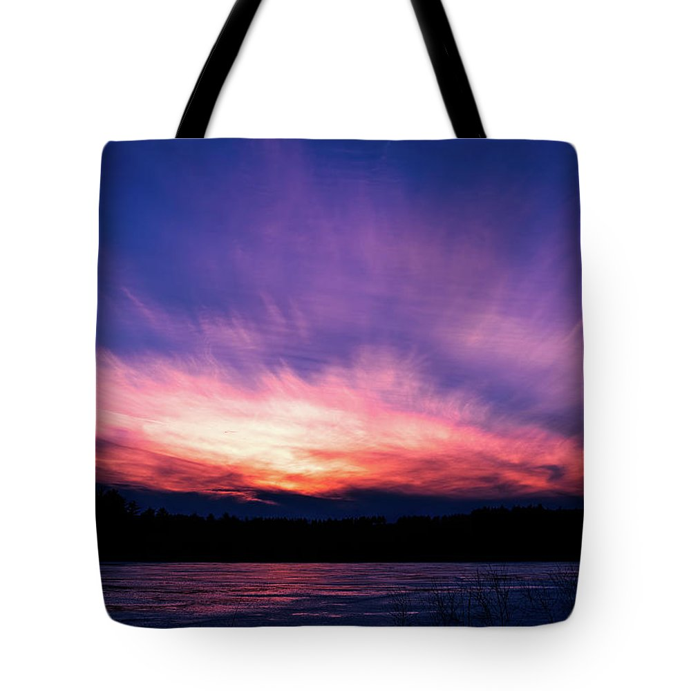 Sunset Tote Bag featuring the photograph Pickerel Lake by Scott Norris