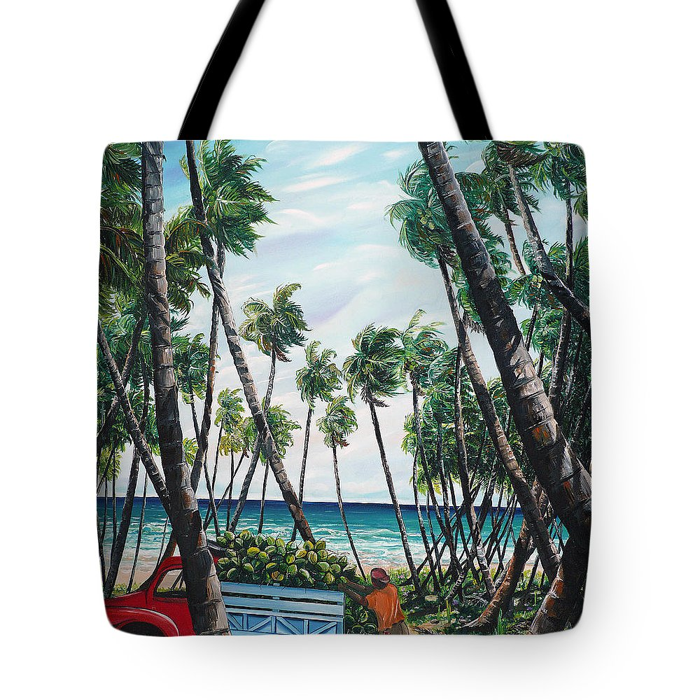 Beach Paintings Ocean Paintings  Caribbean Paintings Coconuts Paintings Tropical Paintings Truck Paintings Sea Paintings Trinidad And Tobago Paintings Tropical Paintings. Greeting Card Paintings Canvas Print Paintings Poster Paintings Tote Bag featuring the painting Picking Coconuts .. Mayaro by Karin Dawn Kelshall- Best