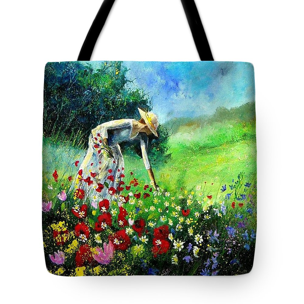 Poppies Tote Bag featuring the painting Picking Flower by Pol Ledent