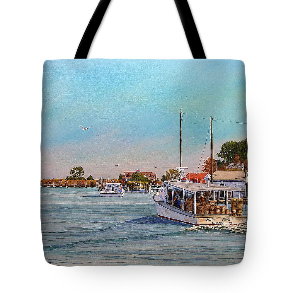 Tangier Island Tote Bag featuring the painting Picking Up Crab by Jerry Spangler
