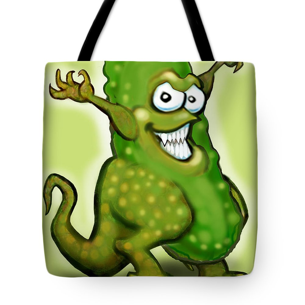 Pickle Tote Bag featuring the digital art Pickle Monster by Kevin Middleton