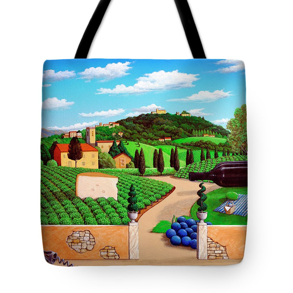 Tuscany Tote Bag featuring the painting Picnic In Tuscany by Snake Jagger