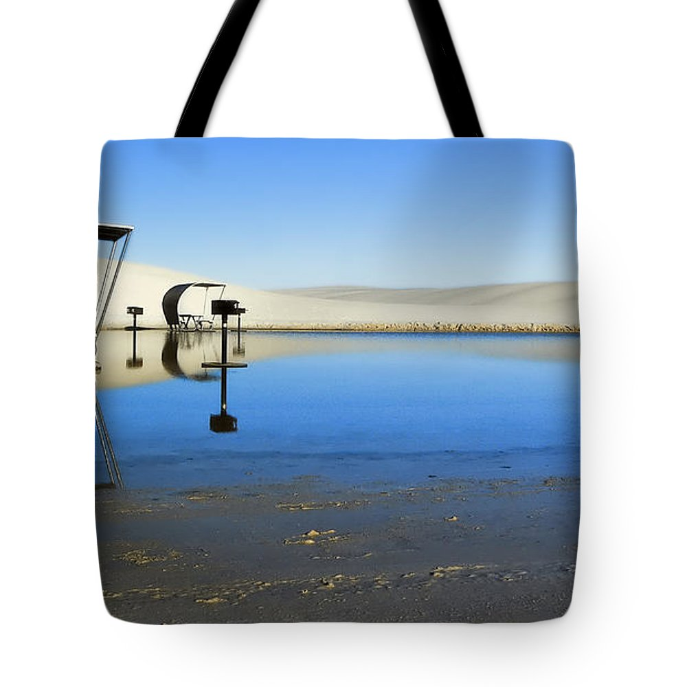 White Sands Nm Tote Bag featuring the photograph Picnic Reflections-one by Paul Basile
