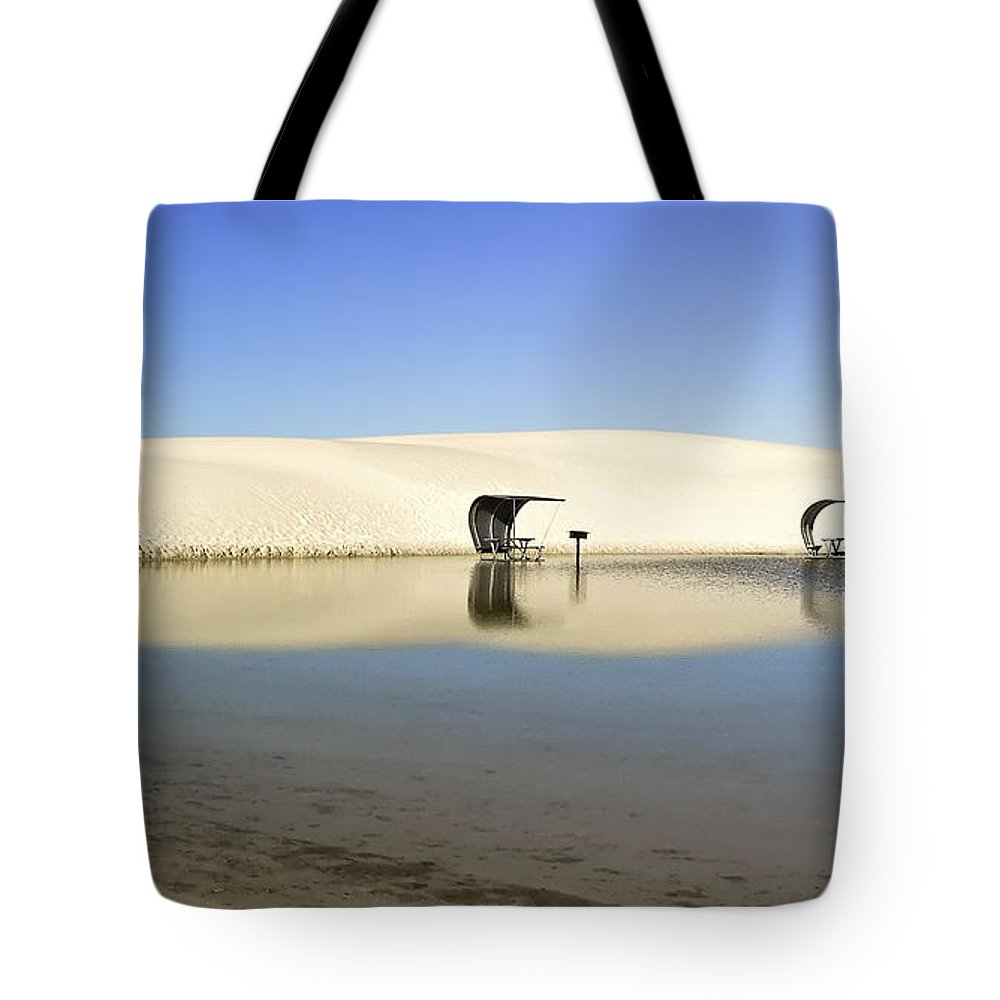 White Sands Tote Bag featuring the photograph Picnic Reflections Two by Paul Basile