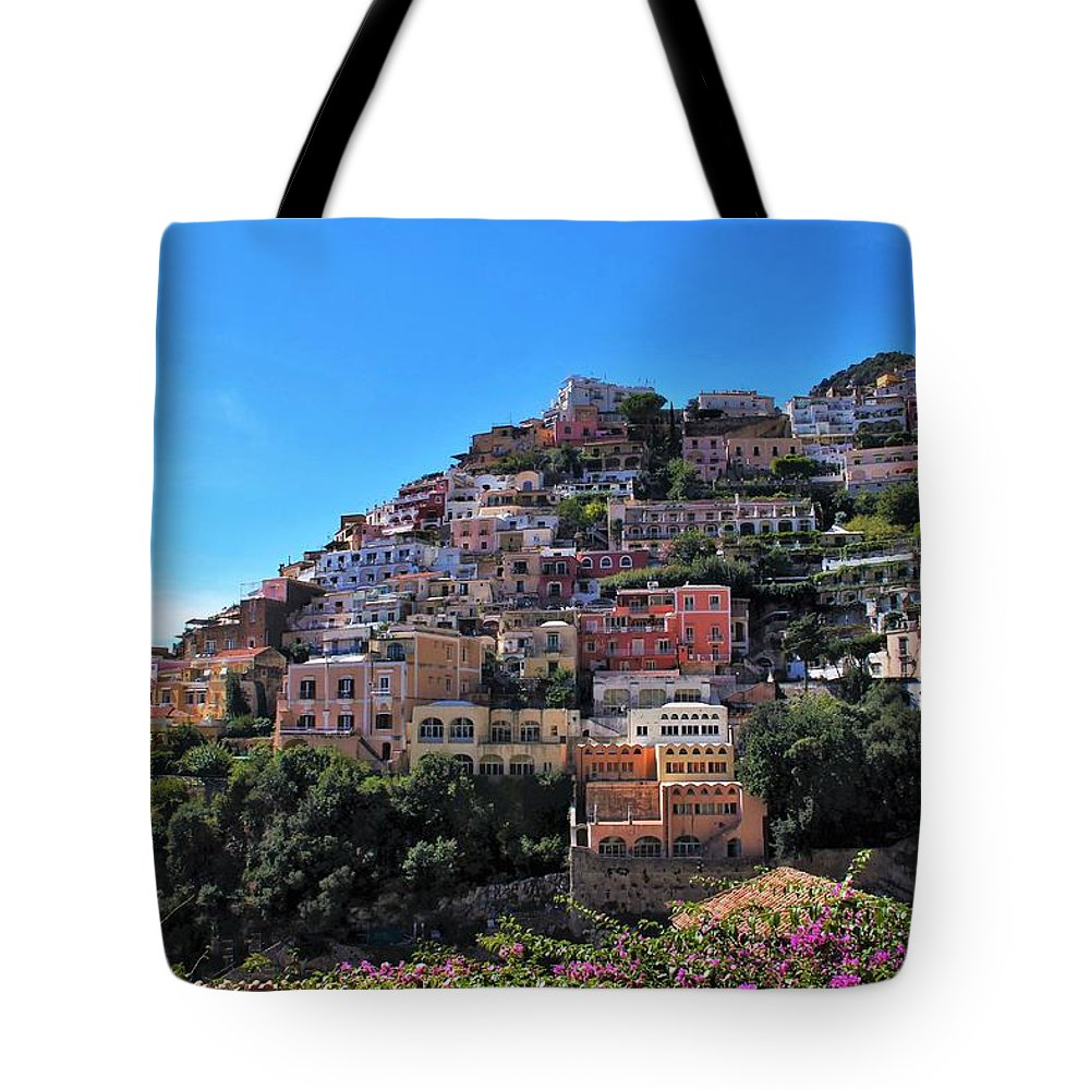 Positing Tote Bag featuring the photograph Picture Perfect Positano. by Colleen Bessel