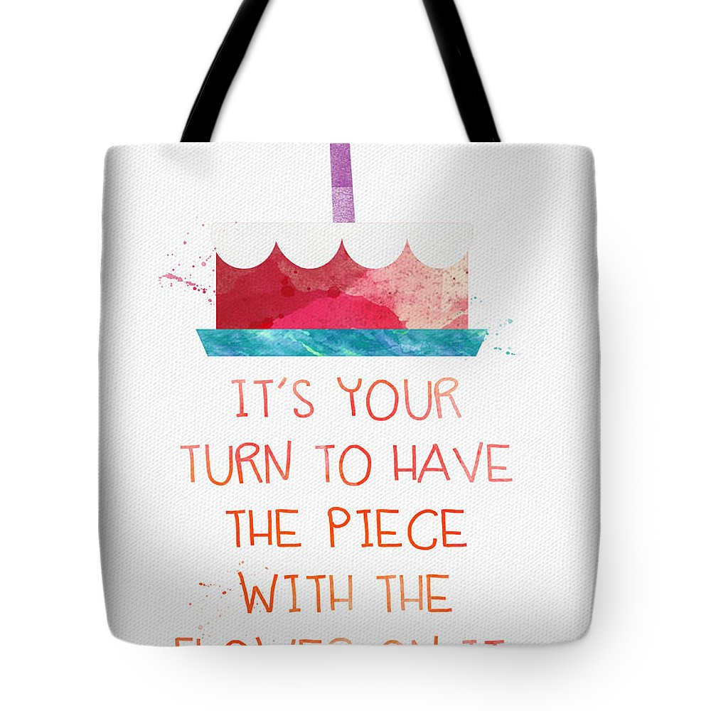 Birthday Tote Bag featuring the mixed media Piece Of Cake- Card by Linda Woods