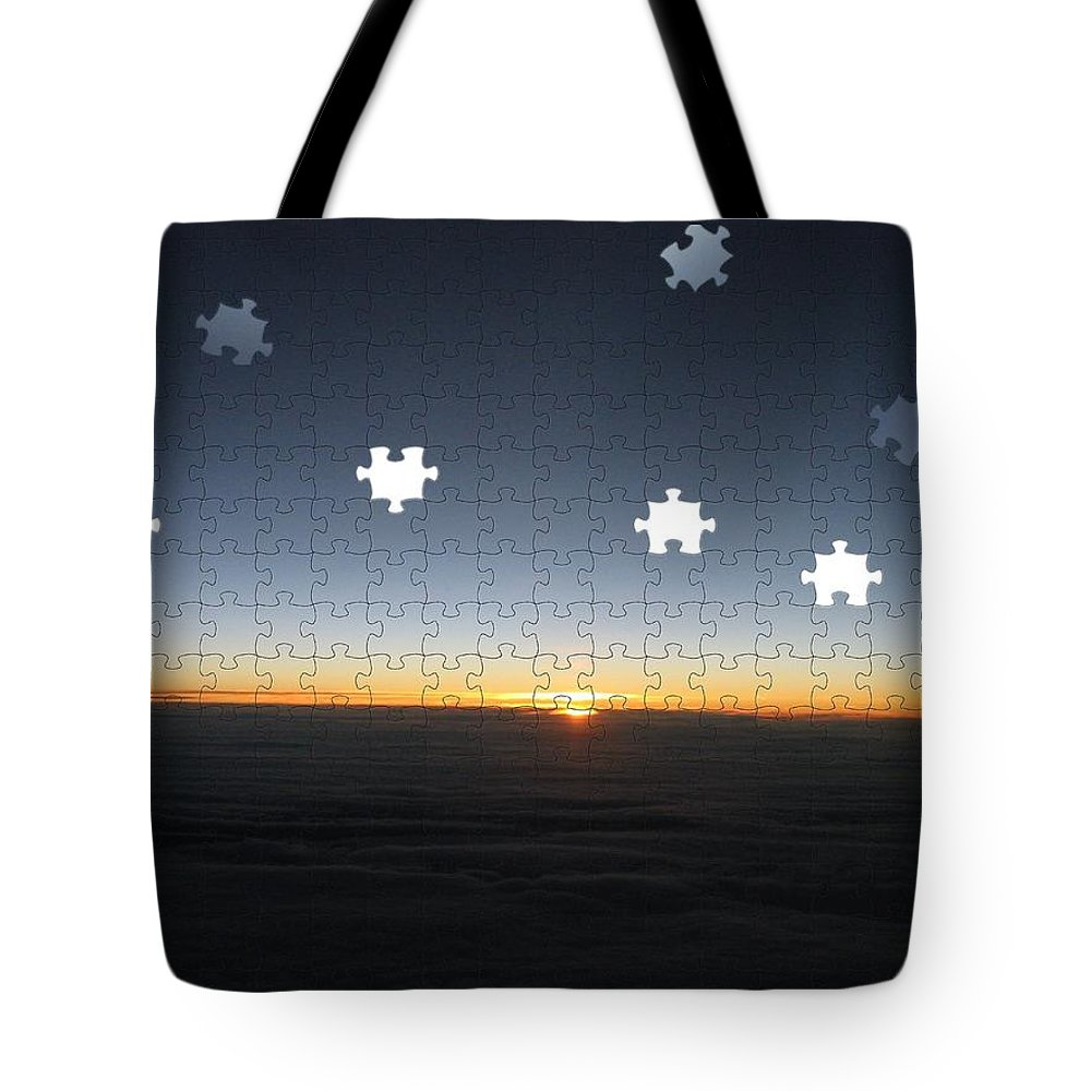 Sunrise Tote Bag featuring the photograph Piecing Together A New Day by Tim Allen
