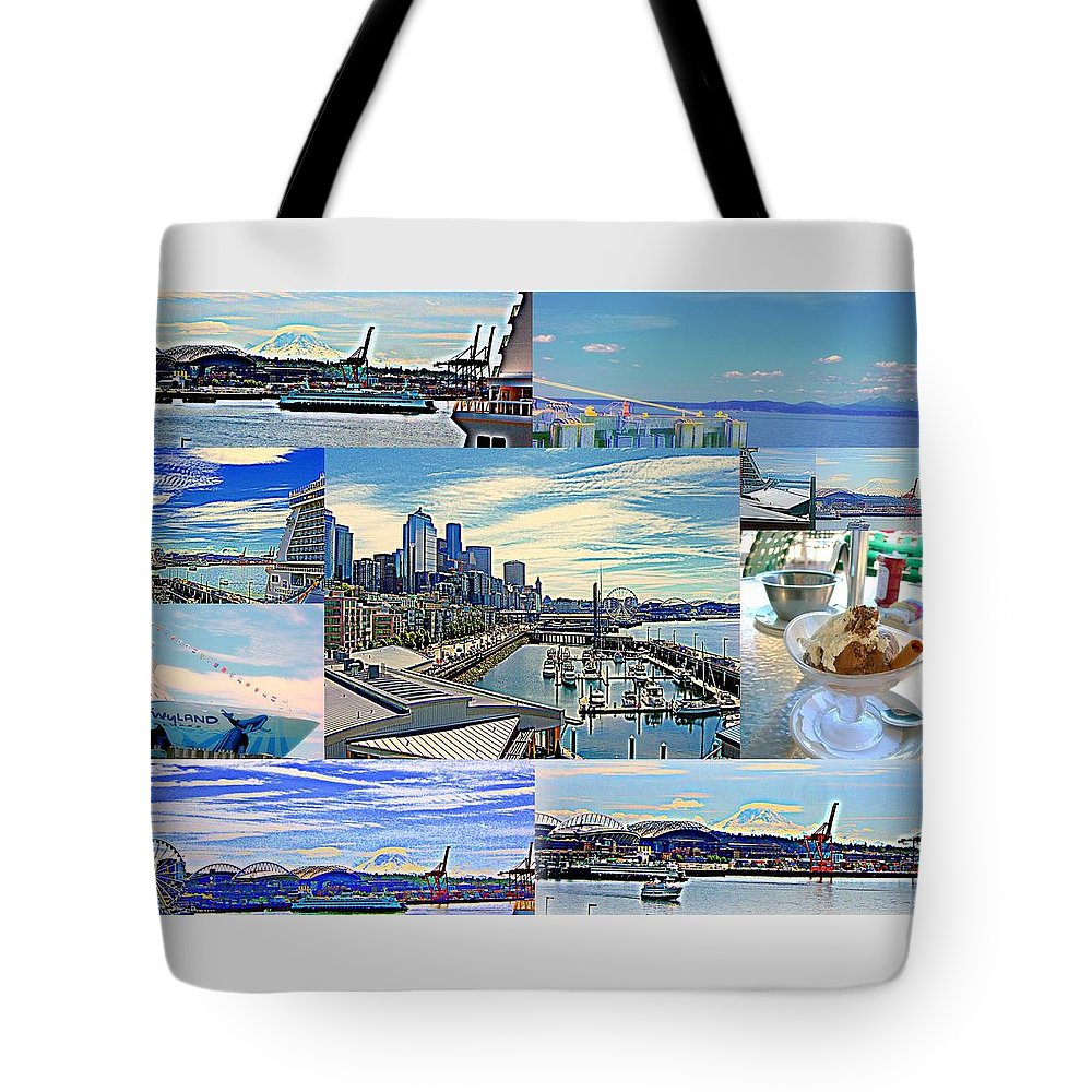 Landscape Tote Bag featuring the photograph Pier 66 Collage by Maro Kentros
