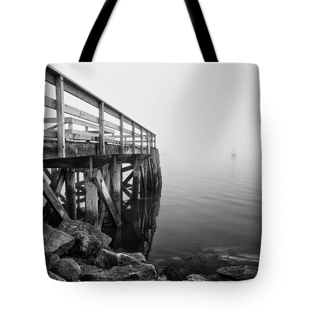 Landscape Tote Bag featuring the photograph Pier At Popham by Vic Bouchard