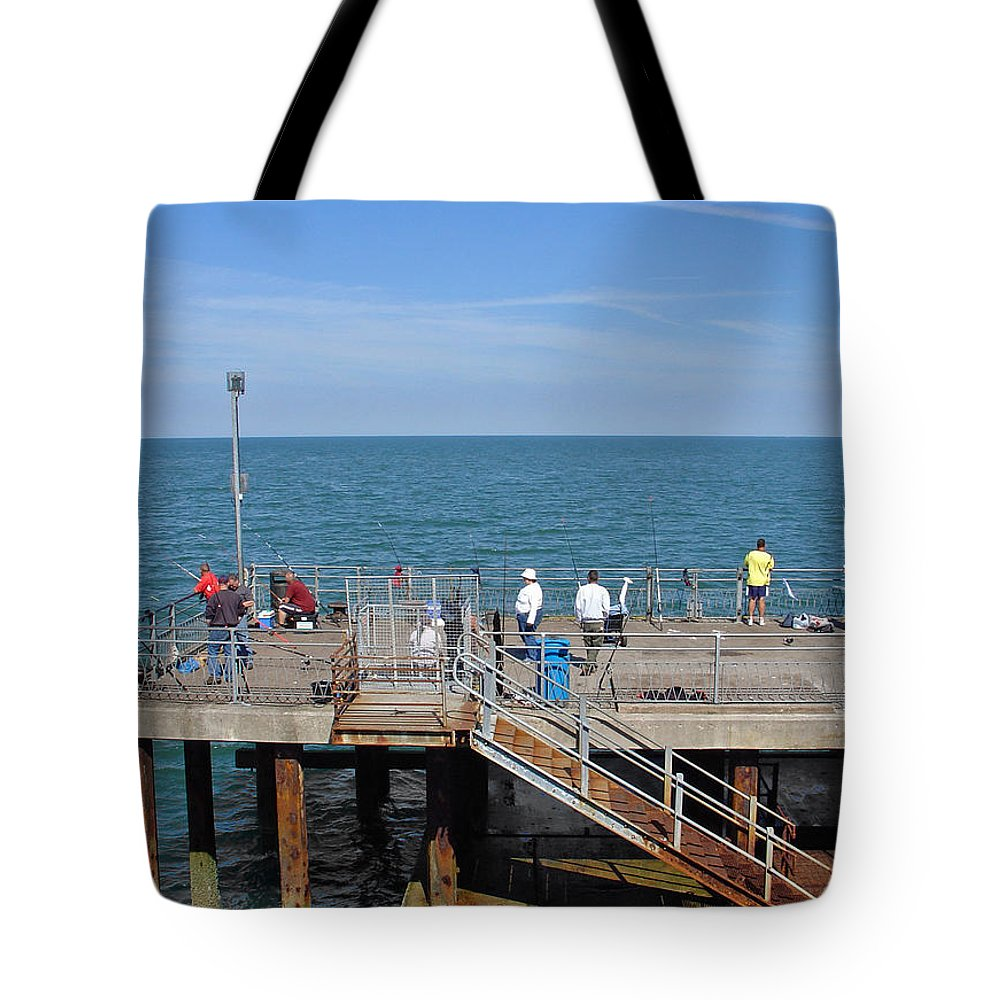 Europe Tote Bag featuring the photograph Pier Fishing At Llandudno by Rod Johnson