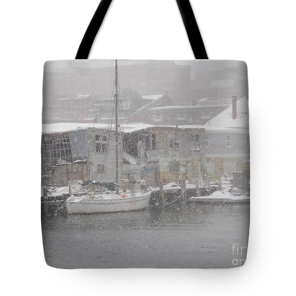Sail Tote Bag featuring the photograph Pier In Disrepair by Faith Harron Boudreau
