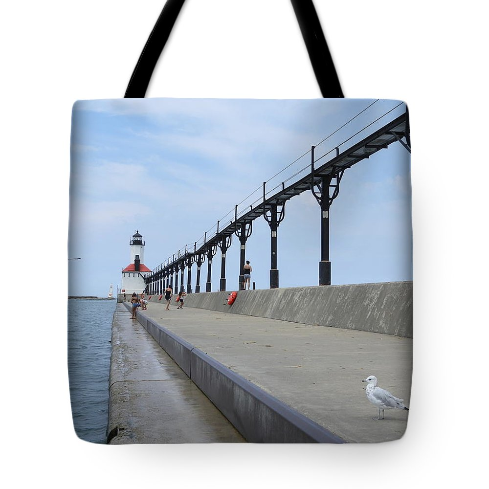 Pier Tote Bag featuring the photograph Pier To Peer by Red Cross