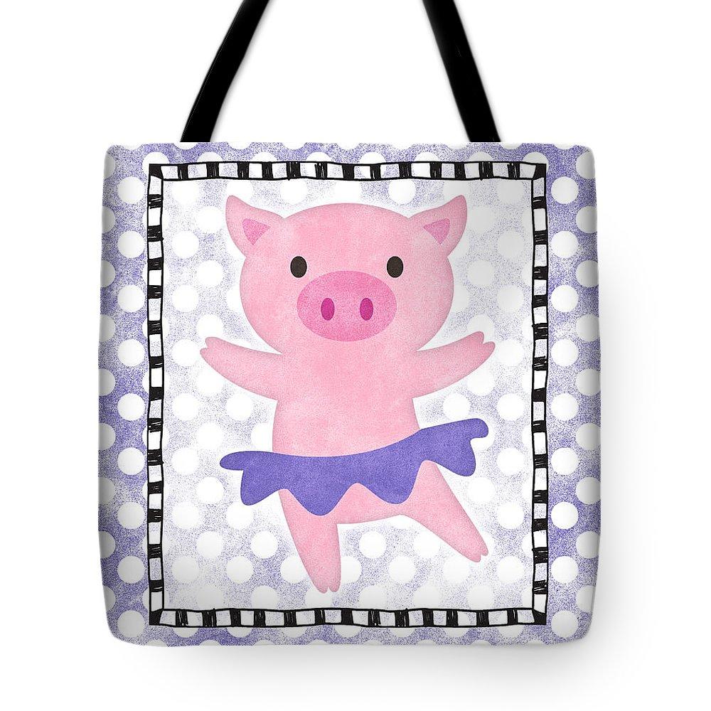 Pig Tote Bag featuring the digital art Pig Dancing - Purple Dotty by Flo Karp