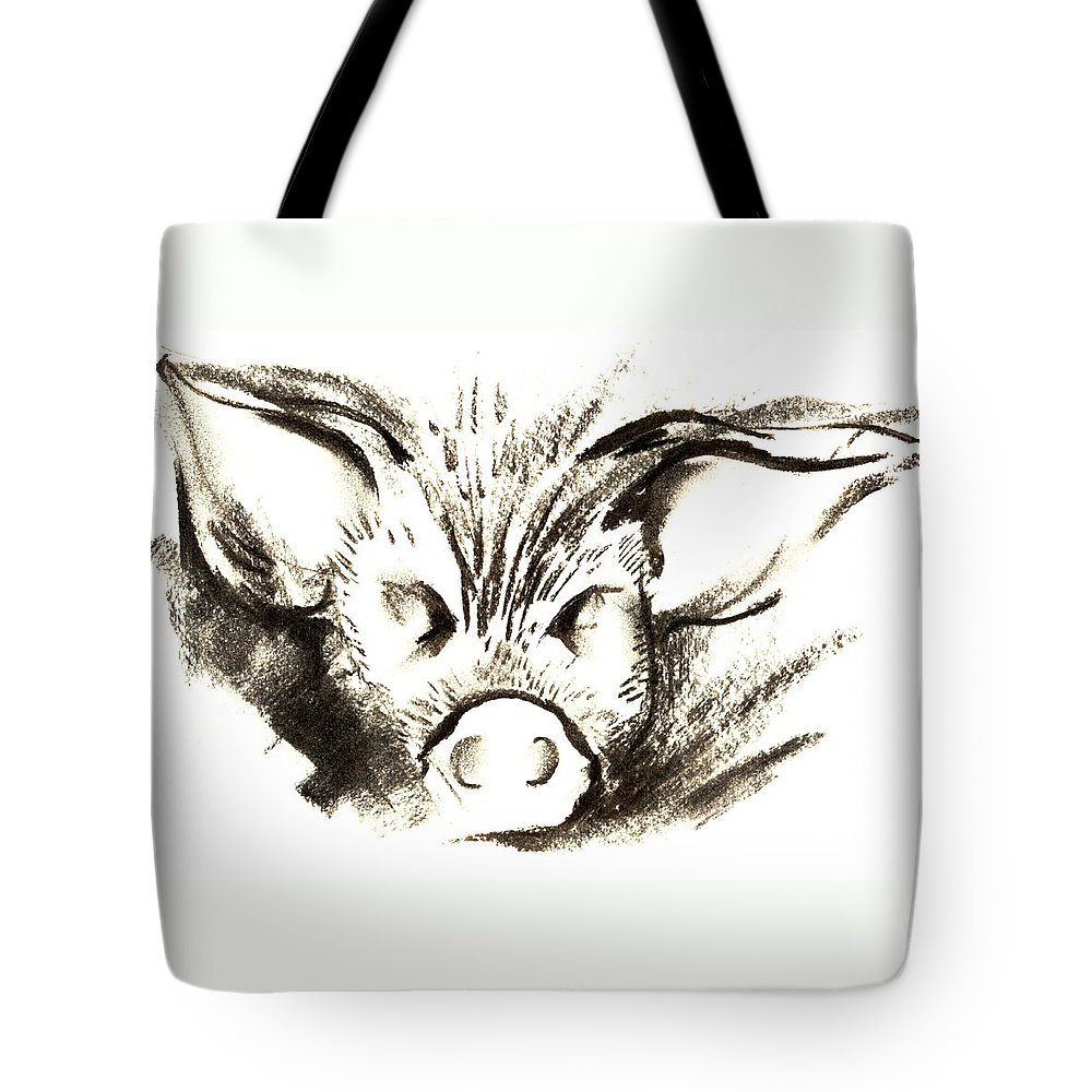 Animal Welfare Tote Bag featuring the drawing Pig Headed by Mark Cawood