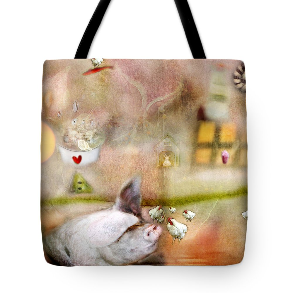 Pigs Tote Bag featuring the photograph Pig by Karen Divine