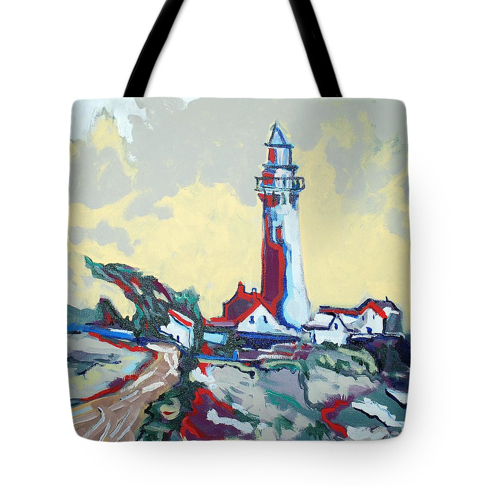 Ligthouse Tote Bag featuring the painting Pigeon Point by Kurt Hausmann