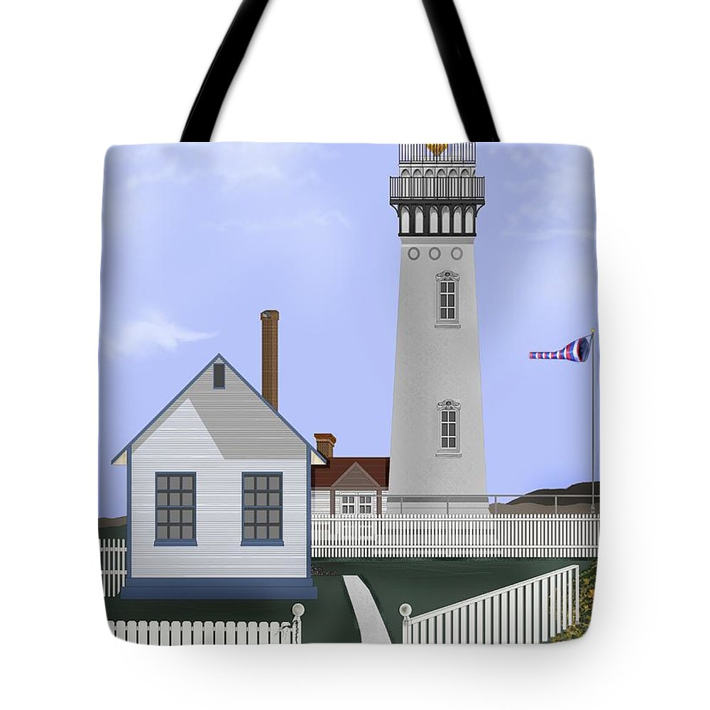 Lighthouse Tote Bag featuring the painting Pigeon Point Lighthouse California by Anne Norskog