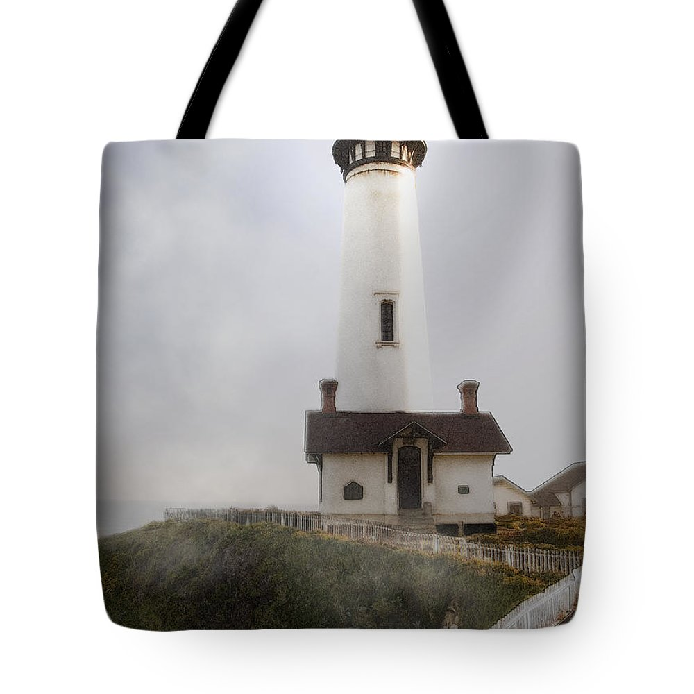 Ocean Tote Bag featuring the photograph Pigeon Point Lighthouse by Karen W Meyer