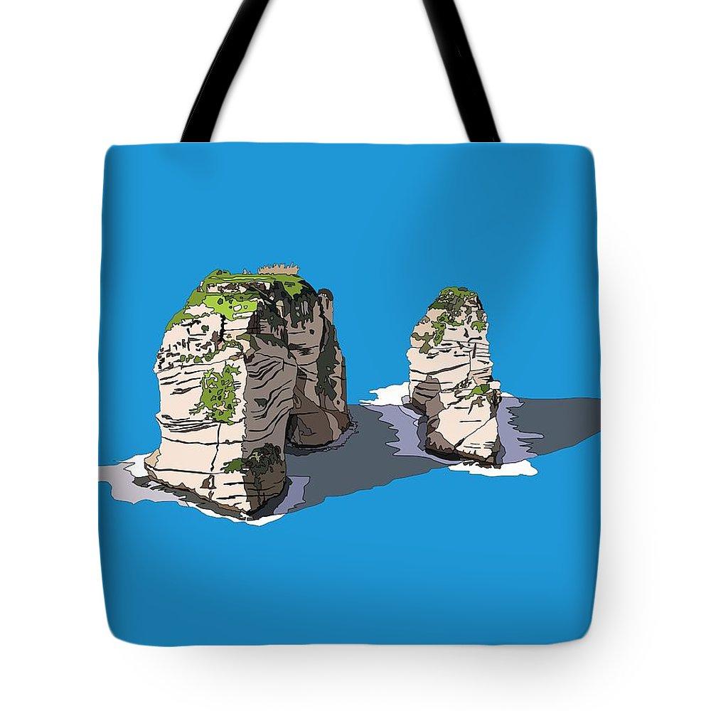 Lebanon Tote Bag featuring the digital art Pigeon Rocks, Beirut by Dia Karanouh