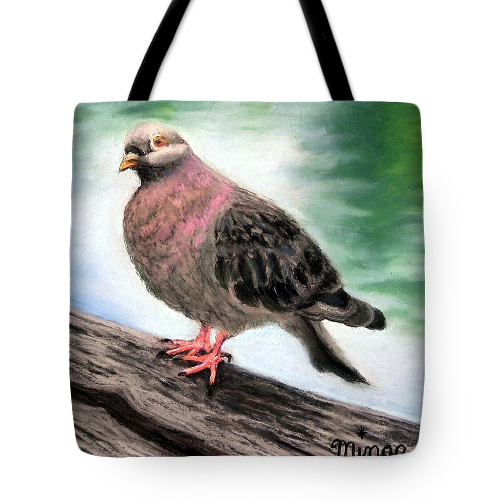 Pigeon Tote Bag featuring the painting Pigeon Toes by Minaz Jantz