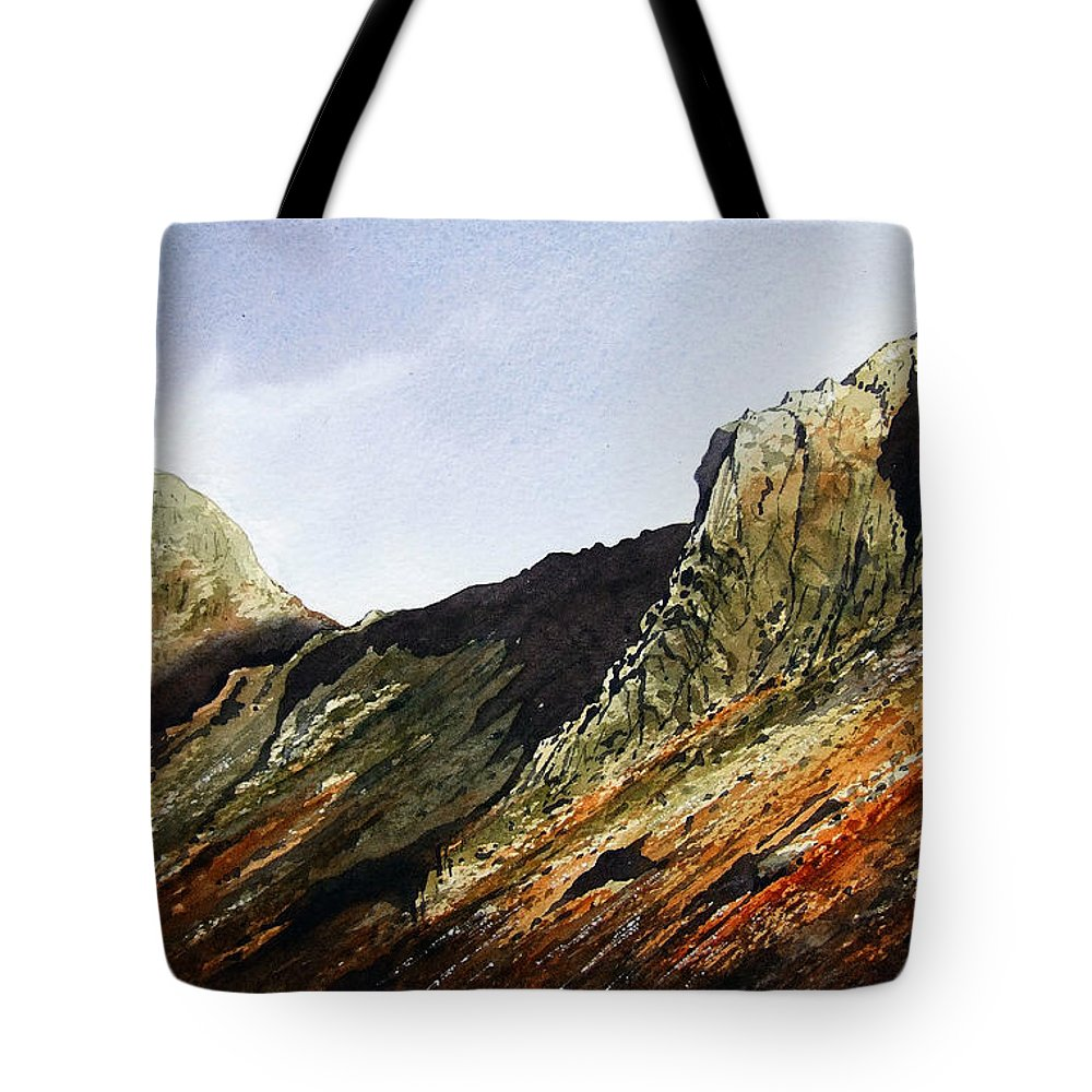 Mountain Tote Bag featuring the painting Pike O' Stickle And Loft Crag by Paul Dene Marlor