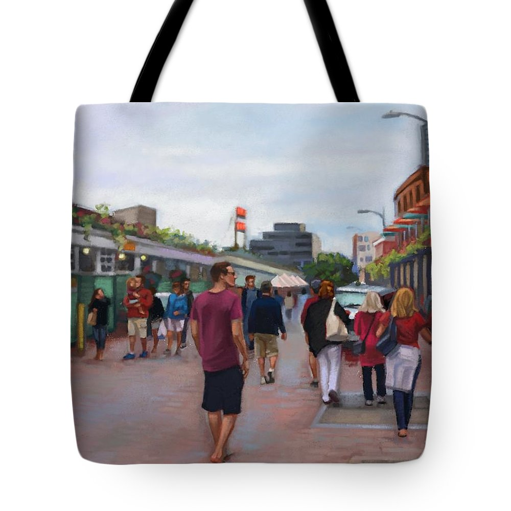 Bags Tote Bag featuring the digital art Pike Place Market by Ramona MacDonald
