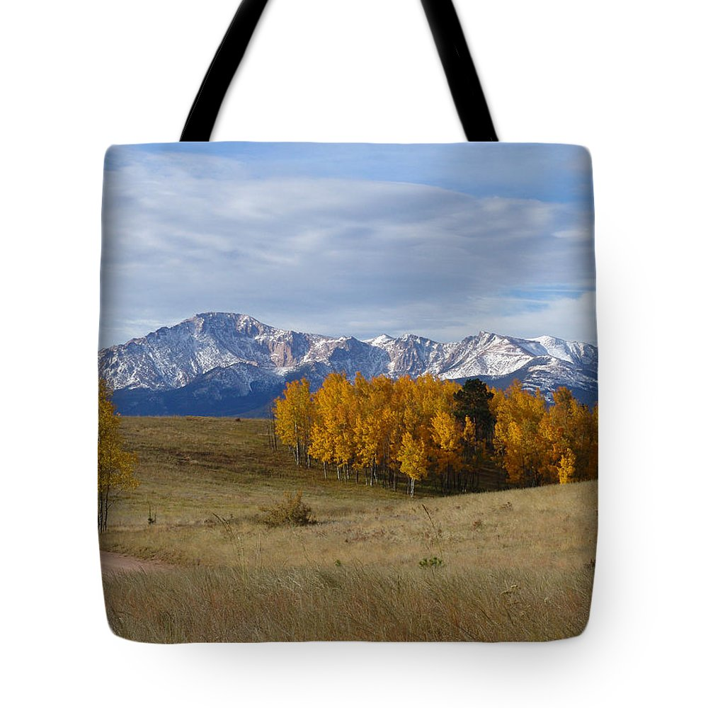 Fall Tote Bag featuring the photograph Pikes Peak In The Fall by Carol Milisen