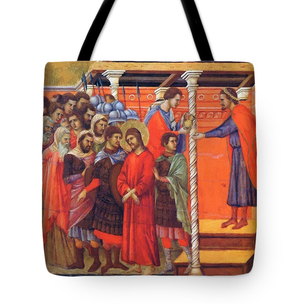 Pilate Tote Bag featuring the painting Pilate Washes His Hands 1311 by Duccio