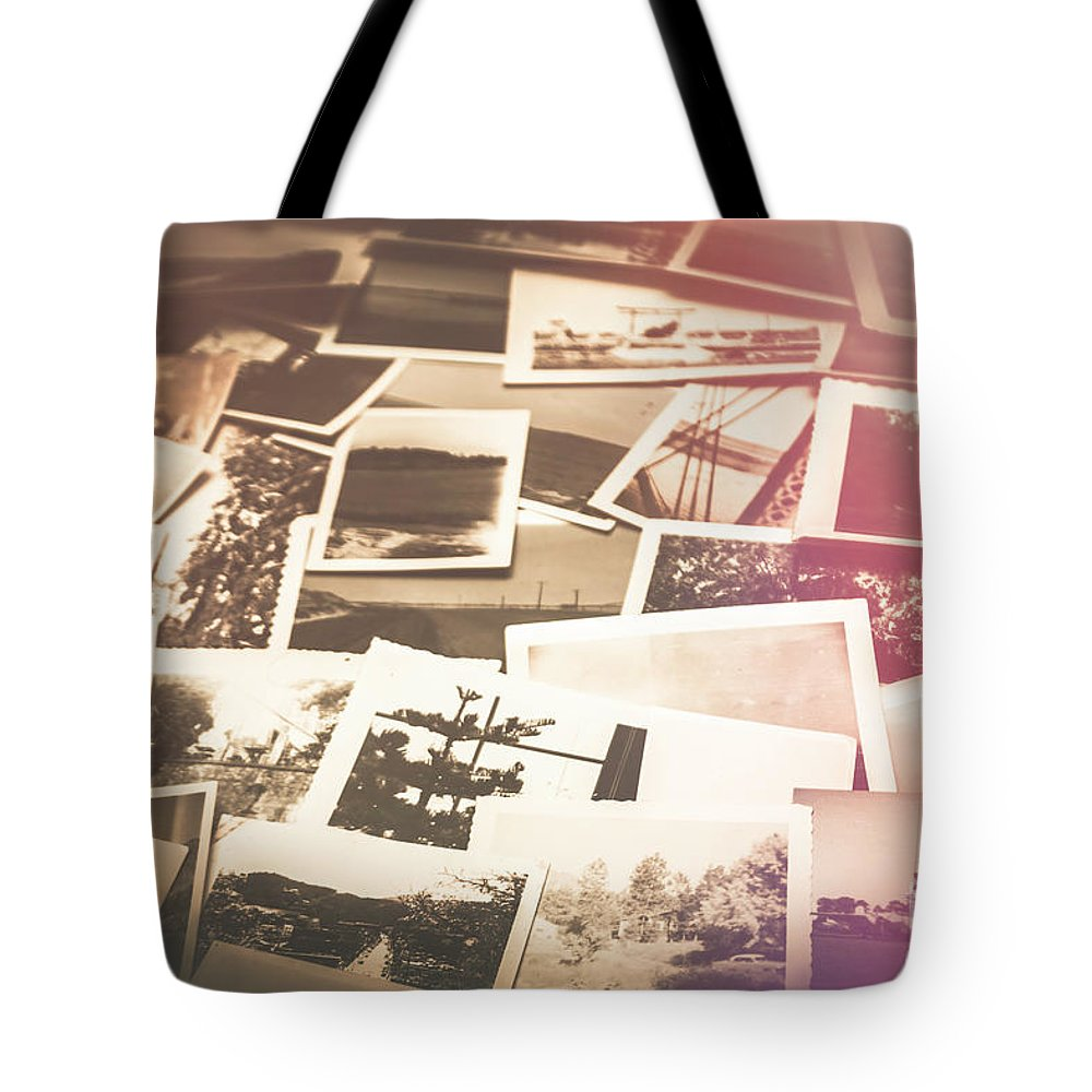 Vintage Tote Bag featuring the photograph Pile Of Old Scattered Photos by Jorgo Photography - Wall Art Gallery