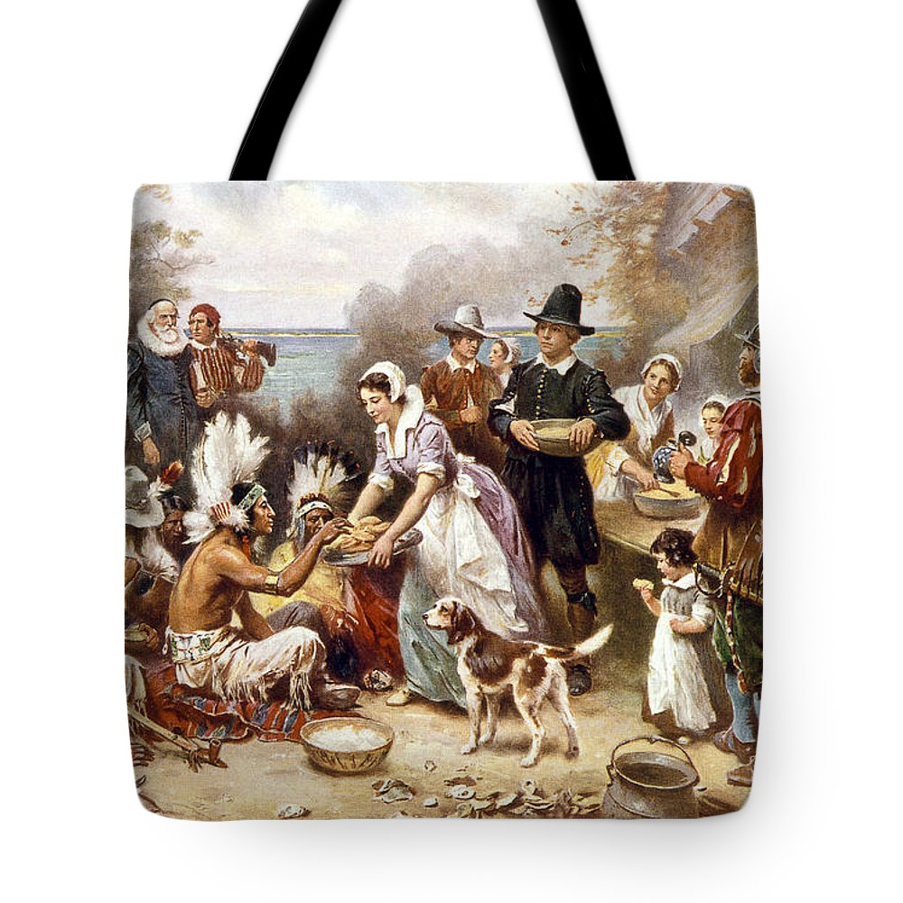 1621 Tote Bag featuring the photograph Pilgrims: Thanksgiving, 1621 by Granger