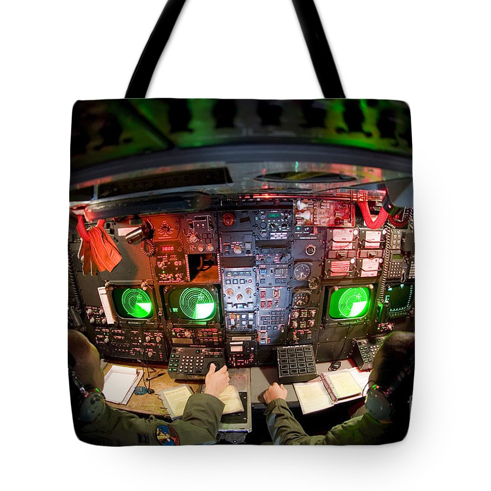 Horizontal Tote Bag featuring the photograph Pilots At The Controls Of A B-52 by Stocktrek Images